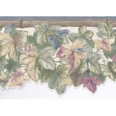 Blue Bamboo Grape Leaves Wallpaper Border