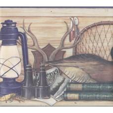 Blue Cream Wooden Hunting Gear Wallpaper Border