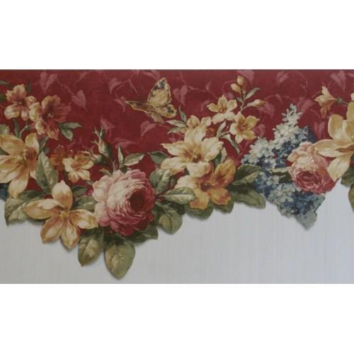 Burgundy Floral Scalloped Wallpaper Border