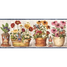 Blue Cream Wooden Flower Pot Angels Wallpaper Border
