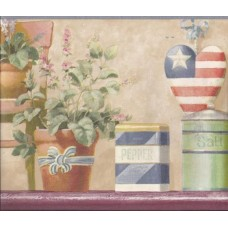 Blue American Flower Pots Wallpaper Border