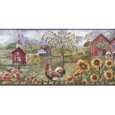 Blue Rooster Farm Wallpaper Border