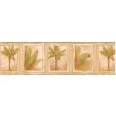 Beige Tropical Palm Tree Wallpaper Border