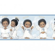 Blue Cute Angels II Wallpaper Border