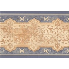 Blue Cream Gold Traditional Wallpaper Border