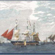 Blue Ship Wallpaper Border