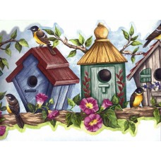 Blue Bird House Wallpaper Border