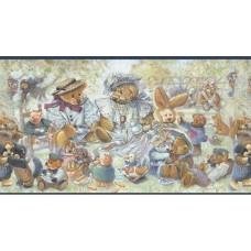 Blue Stuffed Animals Wallpaper Border