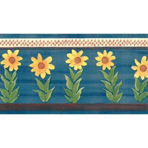 Blue Sunflower Wallpaper Border