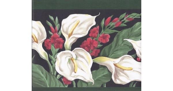 Green Black White Calla Lilies Wallpaper Border