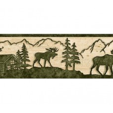 Beige and Green Lodge Moose Wallpaper Border