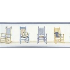 Blue Rocking Chairs Wallpaper Border
